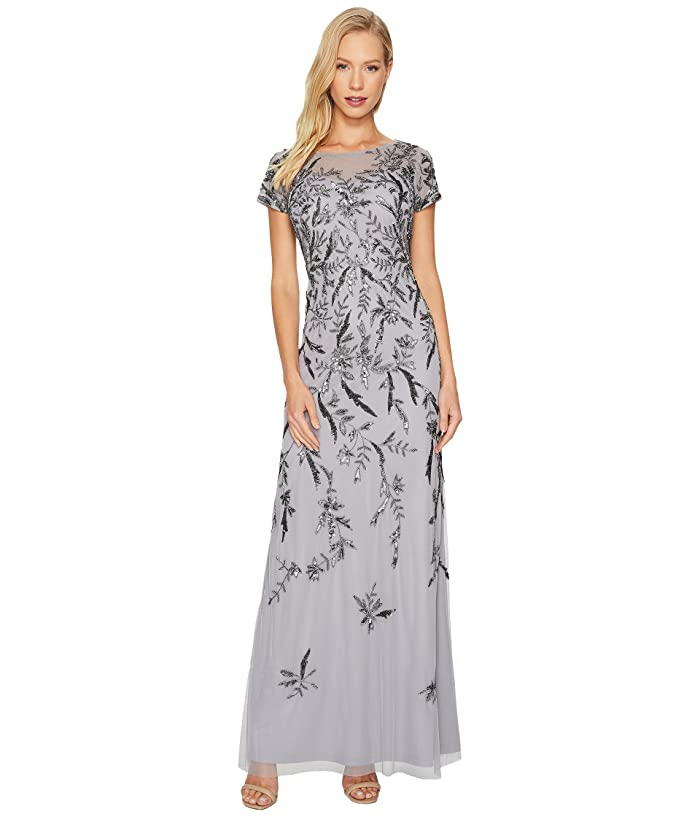 e92d0051f1ce Adrianna Papell Short Sleeve Fully Beaded Gown with Illusion Neckline