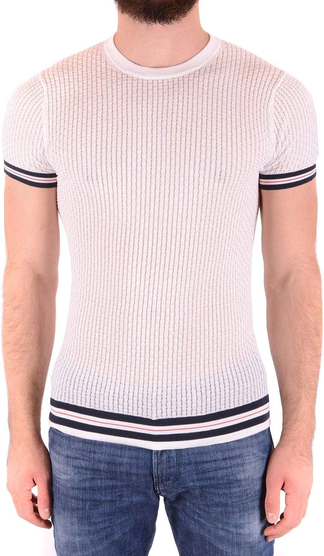 DANIELE ALESSANDRINI Men's MCBI36812 White Cotton Polo Shirt