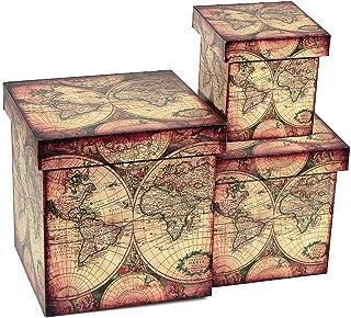 IH CASADECOR Fabric Square (Ex PEDITION MAP) (Set of 3) Boxes, 6x6, Multi