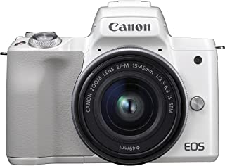 Canon EOS M50 - Kit de cámara EVIL de 24.1 MP y vídeo 4K con objetivo EF-M 15-45mm IS MM (pantalla táctil de 3 estabilizador óptico Wifi) color blanco