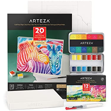 Arteza Watercolor Painting Art Set, Watercolor Half-Pans and Foldable Canvas Paper Bundle, Art Supplies for Kids and Adults