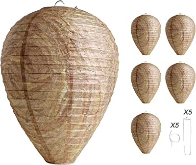 FIVEAGE Wasp Nest Decoy 5 Pack Eco Friendly Patio Garden Hanging Wasp Repellent Hornets Deterrent for Yellow Jackets