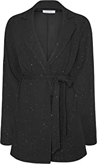 Yours London Black Glitter Belted Blazer - Women's - Plus Size Curve