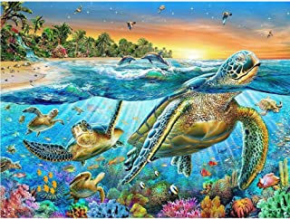 MXJSUA DIY 5D Diamond Painting by Number Kits Full Drill Rhinestone Embroidery Cross Stitch Pictures Arts Craft for Home Wall Decor,Sea World 12x16In