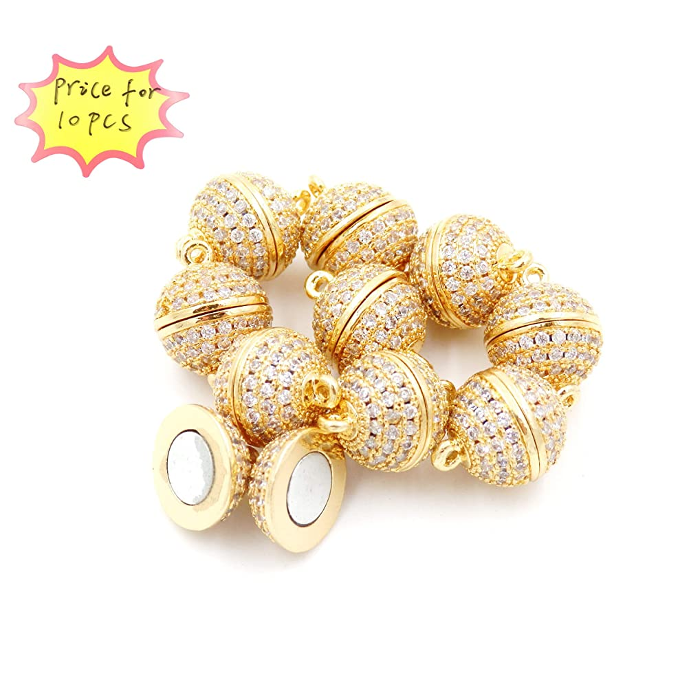 Magnetic Clasp for Jewelry Making, zirxon Pave Clasp, Sold per Bag 10pcs Inside (8mm Gold)