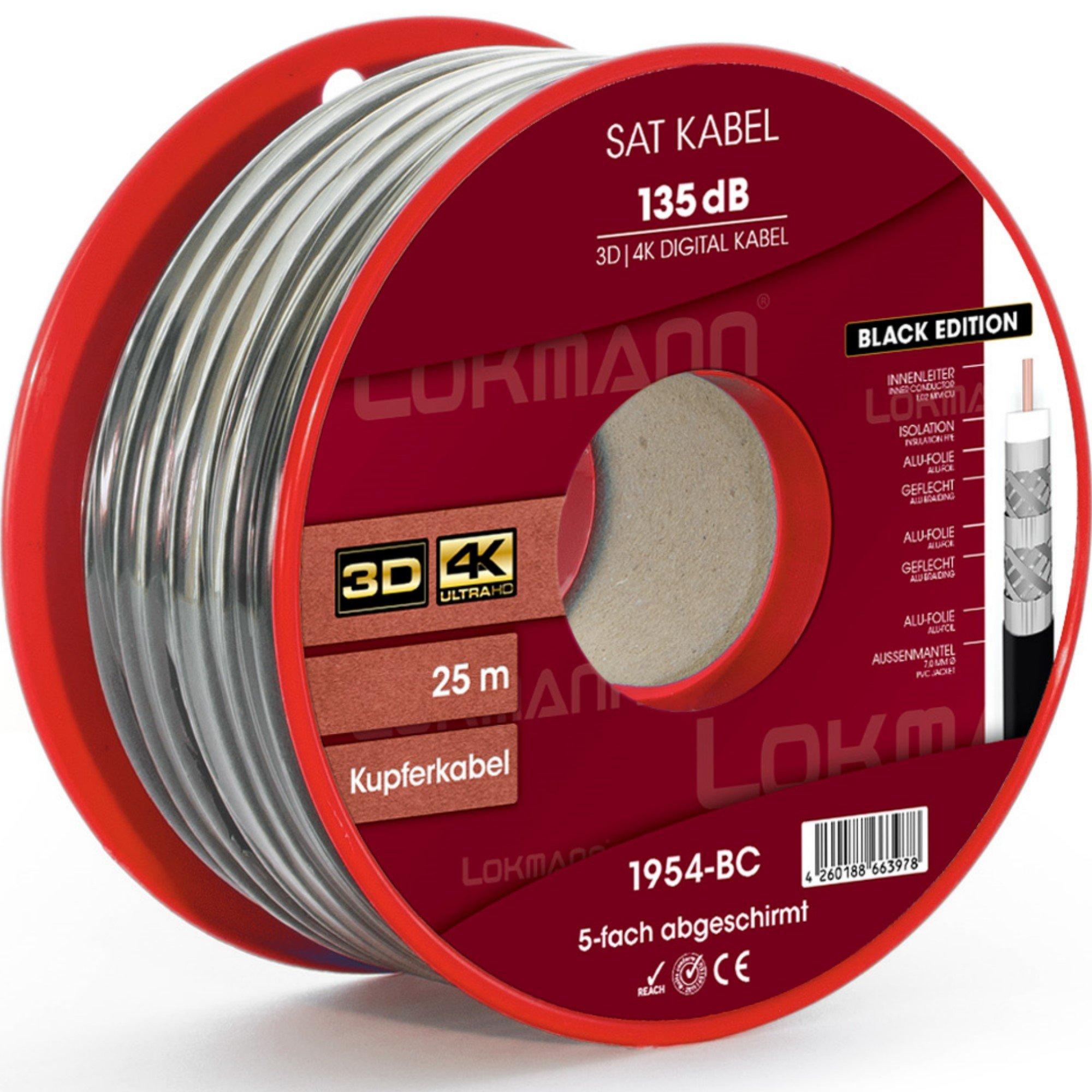 Negro 25 m Cobre Puro KU 135 dB apantallado, 5 de cable coaxial ...