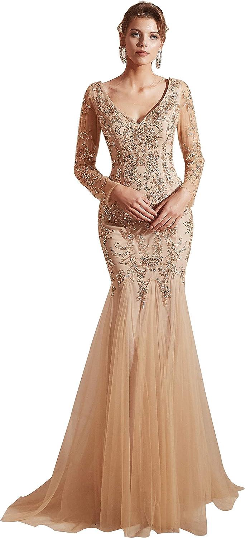 Maricopyjam Women's Long Sleeve Beading Prom Dresses Sexy V Neck Mermaid Evening Dress