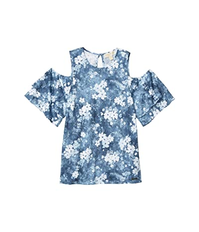 MICHAEL Michael Kors Bleached Floral Flounce Top (Chambray) Women