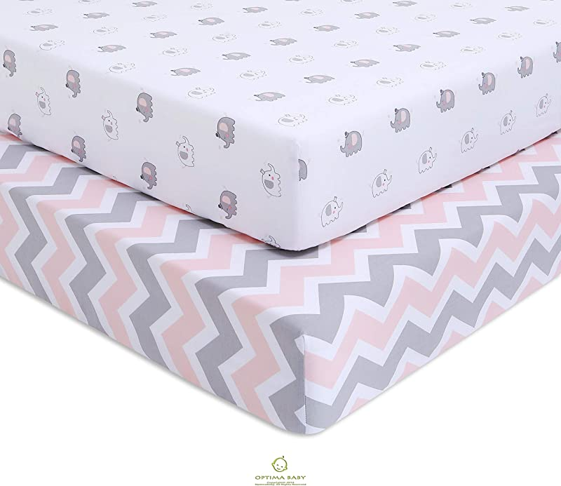 OptimaBaby Elephant Chevron Fitted Crib Sheets Pink 2 Count