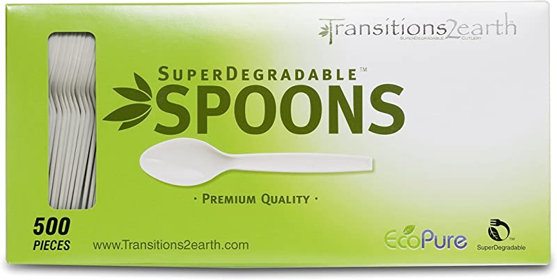 Transitions2earth Biodegradable EcoPure Spoons Box Of 500 Plant A Tree With Each Item Purchased