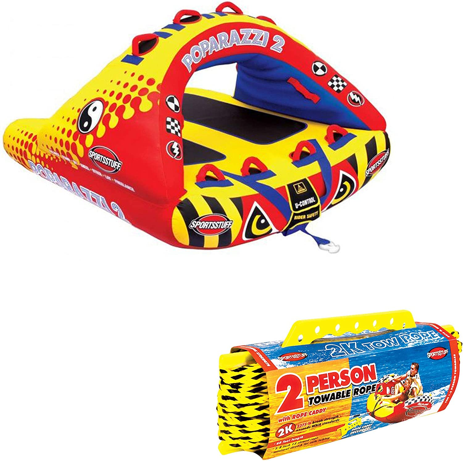 Airhead Poparazzi 2 Double Rider WingShaped Towable Tube w  2 Person Tow Rope