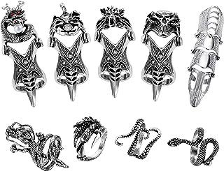 FIBO STEEL 9 Pcs Vintage Punk Rings Knuckle Full Finger Rings for Men Women Dragon Claw Octopus Snake Rings Gothic Rock Hi...