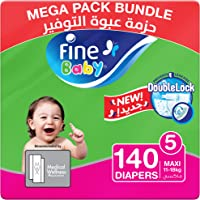 Fine Baby Diapers, DoubleLock Technology , Size 5, Maxi 11–18kg, Mega Pack. Pack of 2 each pack, each pack contain 70...