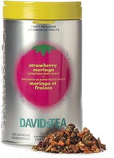 DAVIDsTEA Strawberry Moringa Loose Leaf Tea Iconic Tin, Premium Herbal Tea with Strawberries and Moringa, 3.5 oz / 100 g