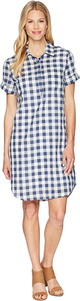 Gingham Shirtdress with Pocket and Roll Up Sleeve