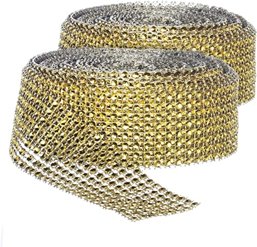 discount Rhinestone Diamond Bling Wrap Ribbon for Wedding Cake, Party, Holiday & online sale Home Decoration, Gold 8-Rows, (2 online Rolls) 10 YDS EA. online