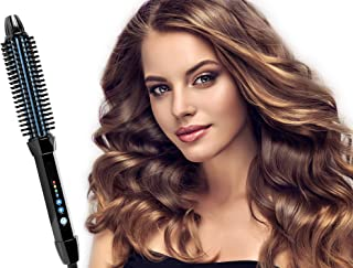 Kuron Store LESASHA Easy Volume Styling Curling Iron Round Hot Hair Brush, Tourmaline Ceramic Thermal Salon Brushes Curlers Volumizers Fast Heating Hair Crimpers Electric Comb, 1 Inch Black & Blue