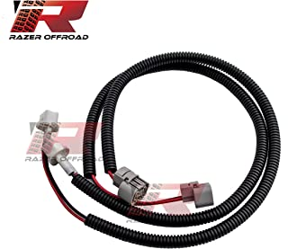 """Razer Auto Black 1 Pair 24"""" Fog Light Extension Cable Wire Harness with Corrugated wire host cover (Black) for 10-17 Jeep Wrangler JK"""