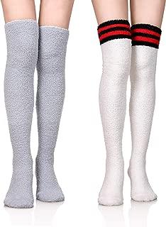 DoSmart Womens Soft Warm Coral Velvet Knee High Stockings Fuzzy Socks for Christmas Gift