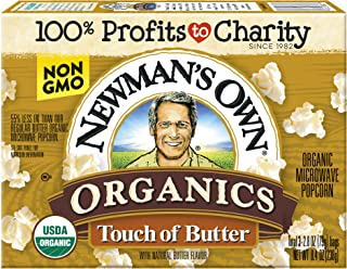 Newman's Own Microwave Popcorn, Organic Light Butter, 8.4-oz. (Pack of 12)