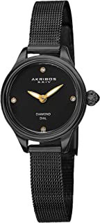 Akribos XXIV Women's Dial Stainless Steel Mesh Band Watch - AK873BK