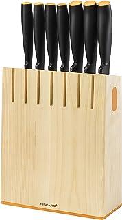 Fiskars Zestaw 7 noży w bloku, Functional Form, Szerokość: 20,8 cm, Wysokość: 37 cm, Drewno brzozowe, 1018781