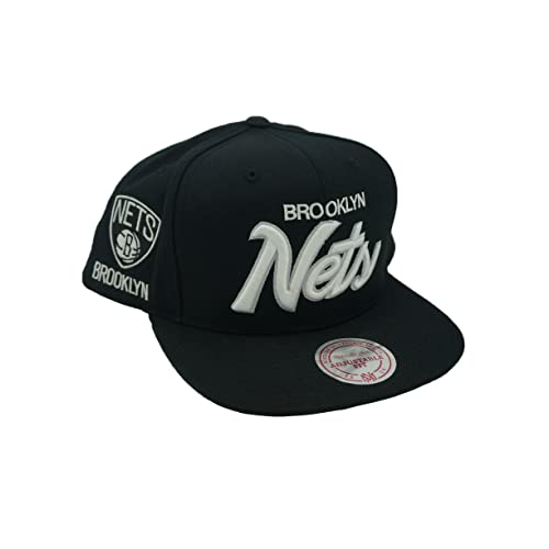 meet f579a 646f1 Mitchell   Ness Brooklyn Nets All Black Script Logo Snapback Hat