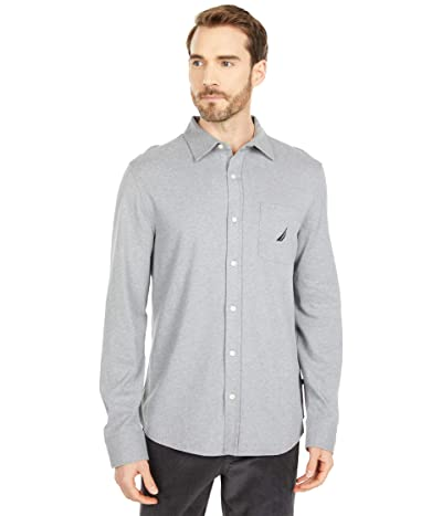 Nautica Long Sleeve Woven Shirt (Stone Grey Heather) Men
