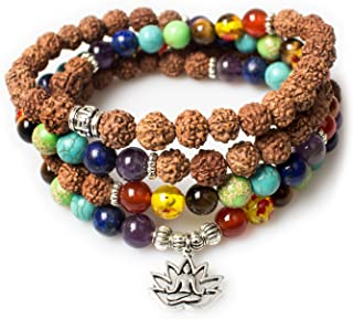 PWMENLK Jewelry,8MM Rudraksha-Buddha Healing 108 Buddhist Prayer Mala Beads Lotus 7 Chakra Bracelet Necklace