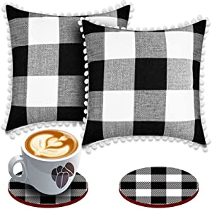 Set of 2 Buffalo Check Pillow Covers Black and White with 2 Bonus Coasters, 18 x 18 Inch Polyester Pillow Cases with Pom Poms for Farmhouse Home Decor, Retro Cushion Case for Car Office