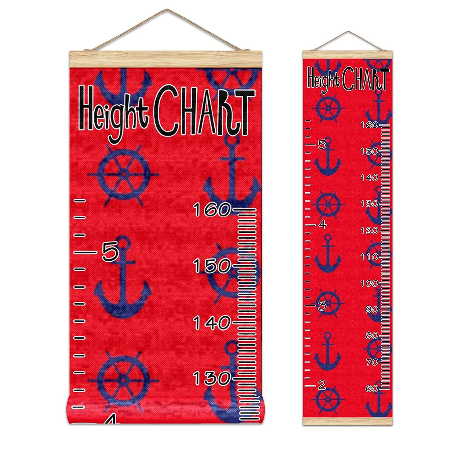 Kids Growth Chart Nautical Navy Blue Anchor Luxury Ship Red Woo New color Compass