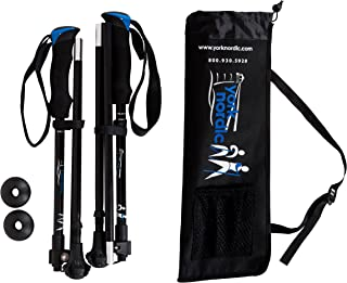 York Nordic Shorter Length Travel Walking Poles - Collapsible with Carrying Bag (2 Piece), Black, 5ft 4in and Under
