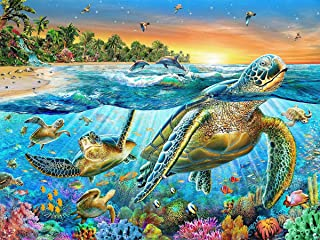 Fipart 5D DIY Diamond Painting Cross Stitch Craft Kit Wall Stickers for Living Room Decoration. Turtles(12X18inch/30X45CM)