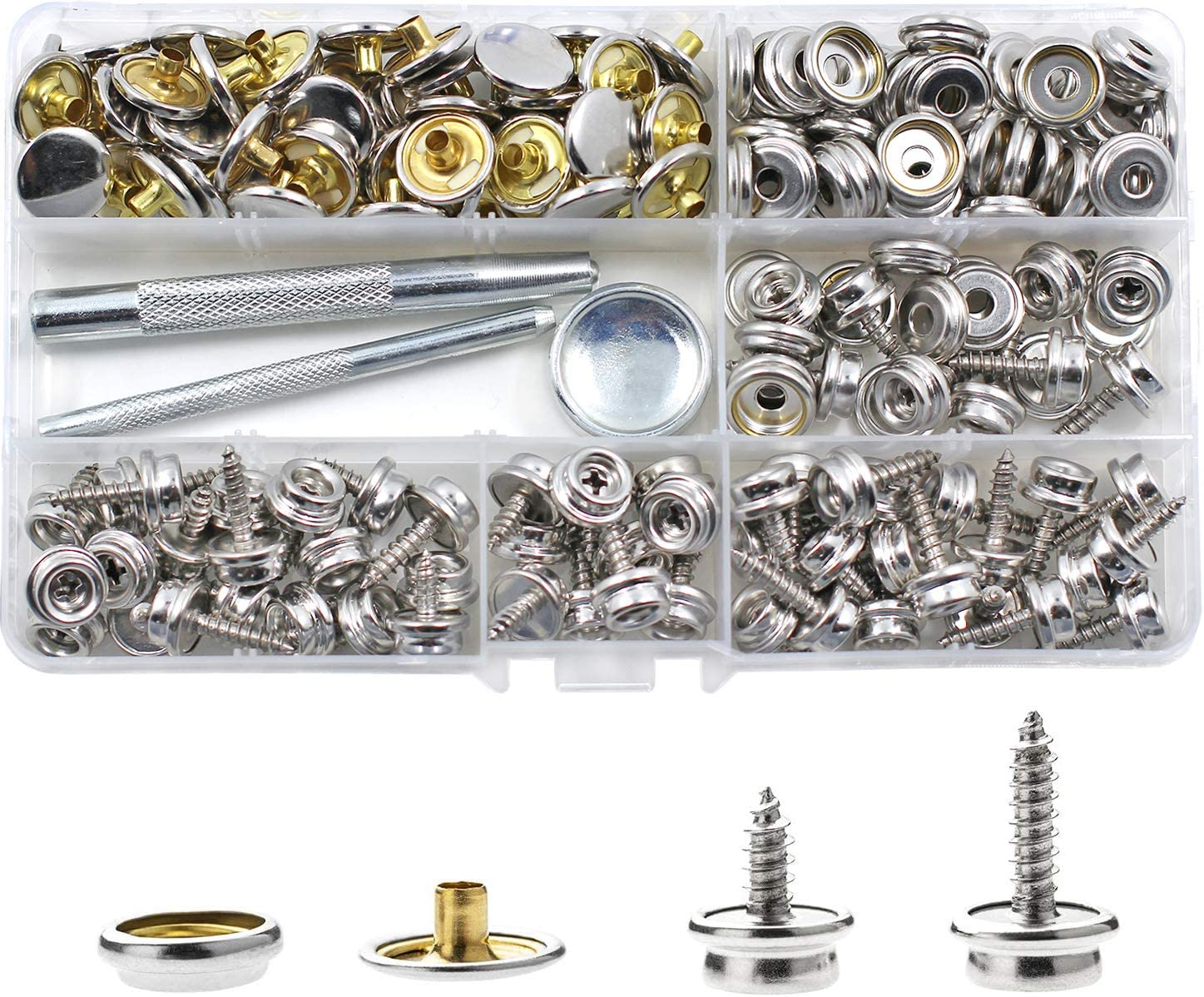 180 Pieces Canvas Ranking TOP14 Sale special price Snap Kit BetterJonny Stainless S Steel Screws