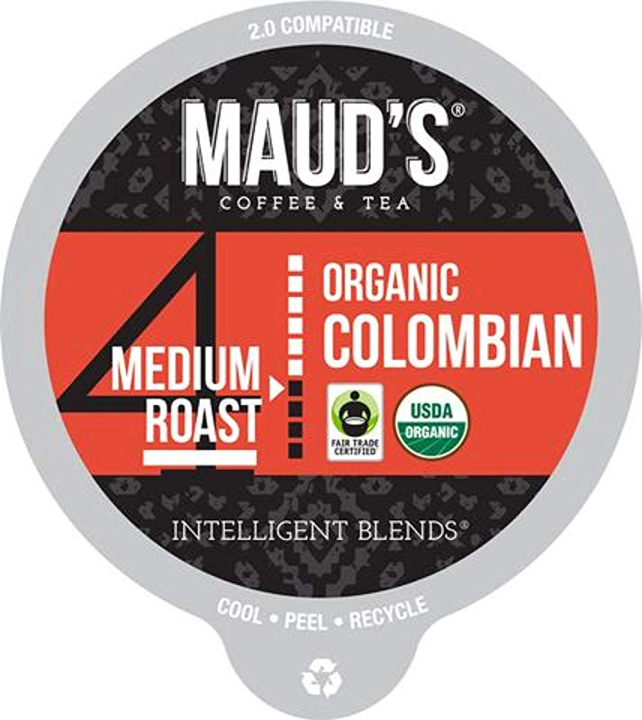 Maud S Organic Colombian Coffee Medium Roast 24ct Recyclable Single Serve Fair Trade Organic Single Origin Coffee Pods
