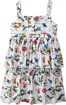 Oscar de la Renta Childrenswear - Cotton Botanical Birds Pleated Dress (Toddler/Little Kids/Big Kids)