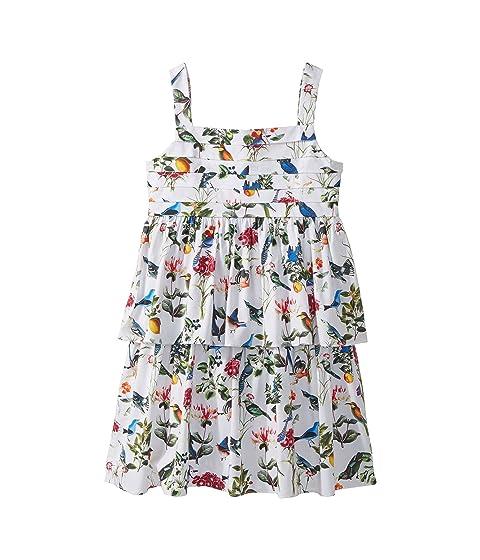 Oscar de la Renta Childrenswear Cotton Botanical Birds Pleated Dress (Toddler/Little Kids/Big Kids)