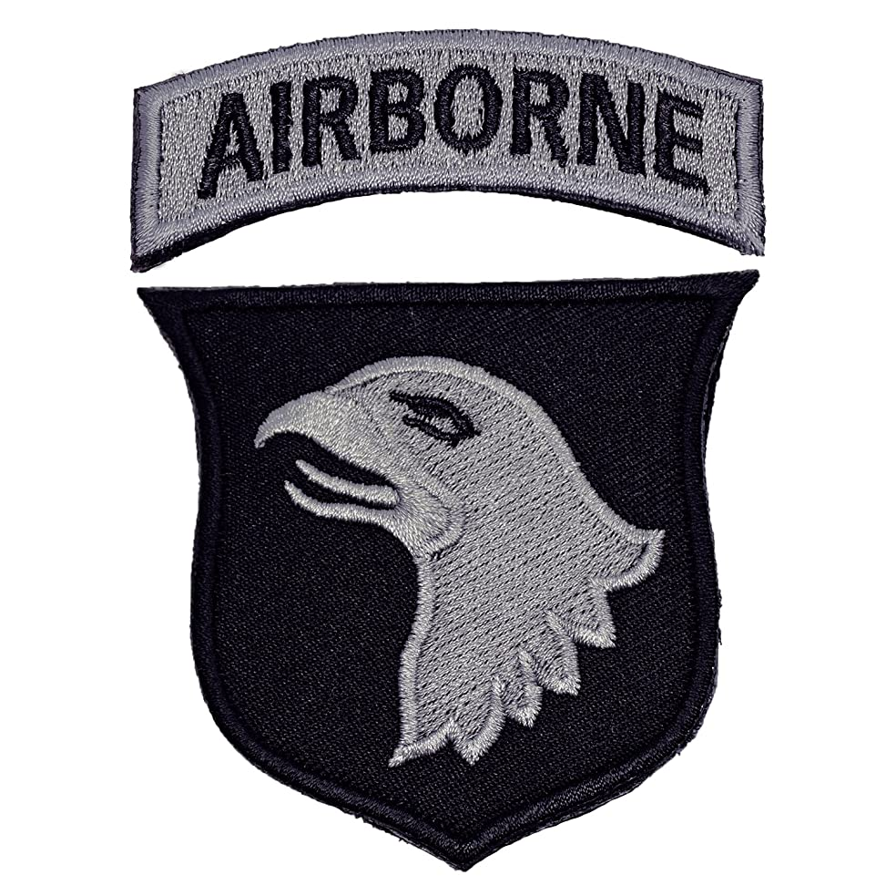 U-Lian 101st Airborne Patch Screaming Eagles Embroidered Applique Badge Sign Costume Paratrooper Shoulder Patch with Hook&Loop Fastener Backing (Airborne-Black+greySilver)