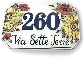 CERAMICHE D'ARTE PARRINI- Ceramica italiana artistica numero civico in ceramica 30x20 personalizzato decorazione girasoli ...