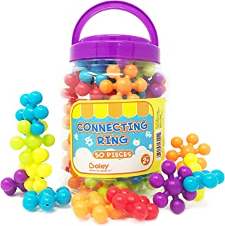Boley 50 Piece Educational Building Block Rings - Educational Building Set for Kids, Children, Toddlers - Includes Colorful Building Pieces and Convenient, Easy Use Storage Bucket - Assorted Colors