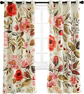 Riyidecor Floral Blackout Curtains Spring Season Roses Shabby Chic Flowers Printed Artwork Pedals Dots Leaves Buds Living Room Bedroom Window Drapes Treatment Fabric (2 Panels 52 x 84 Inch)