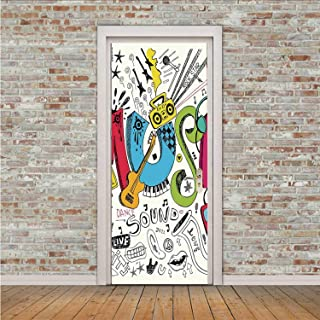 YOLIYANA Music Practical Sticker,Pop Art Featured Doodle Style Musical Background with Instruments Sound Art Illustration for Glass,30″ W x 78″ H