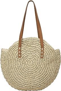 Round Straw Bag Large Summer Beach Tote Woven Round Handle Handbags Rattan Crossbody Purse for Women