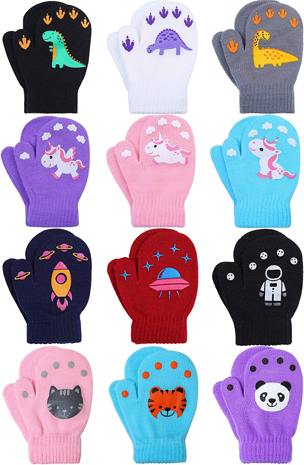 Cooraby 12 Pairs Toddler Baby Knitted Mittens Unisex Winter Warm Stretch Mittens Gloves
