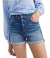 High-Rise Denim Shorts in Burke Wash: Button-Front Edition