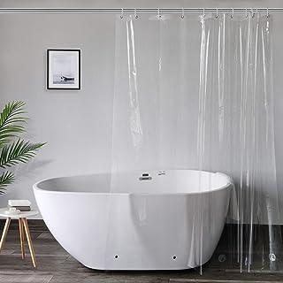 AooHome シャワーカーテン 透明カーテン ビニールカーテン 120x180cm バスカーテン ユニットバス 浴室 間仕切り 北欧 クリア 清潔 フック付き 取付簡単