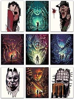 "Halloween Canvas Prints Wall Art - 9 Piece, (18"" x 24"") Horror Movie Poster, Friday the 13th Jason, Freddy Krueger, Michae..."