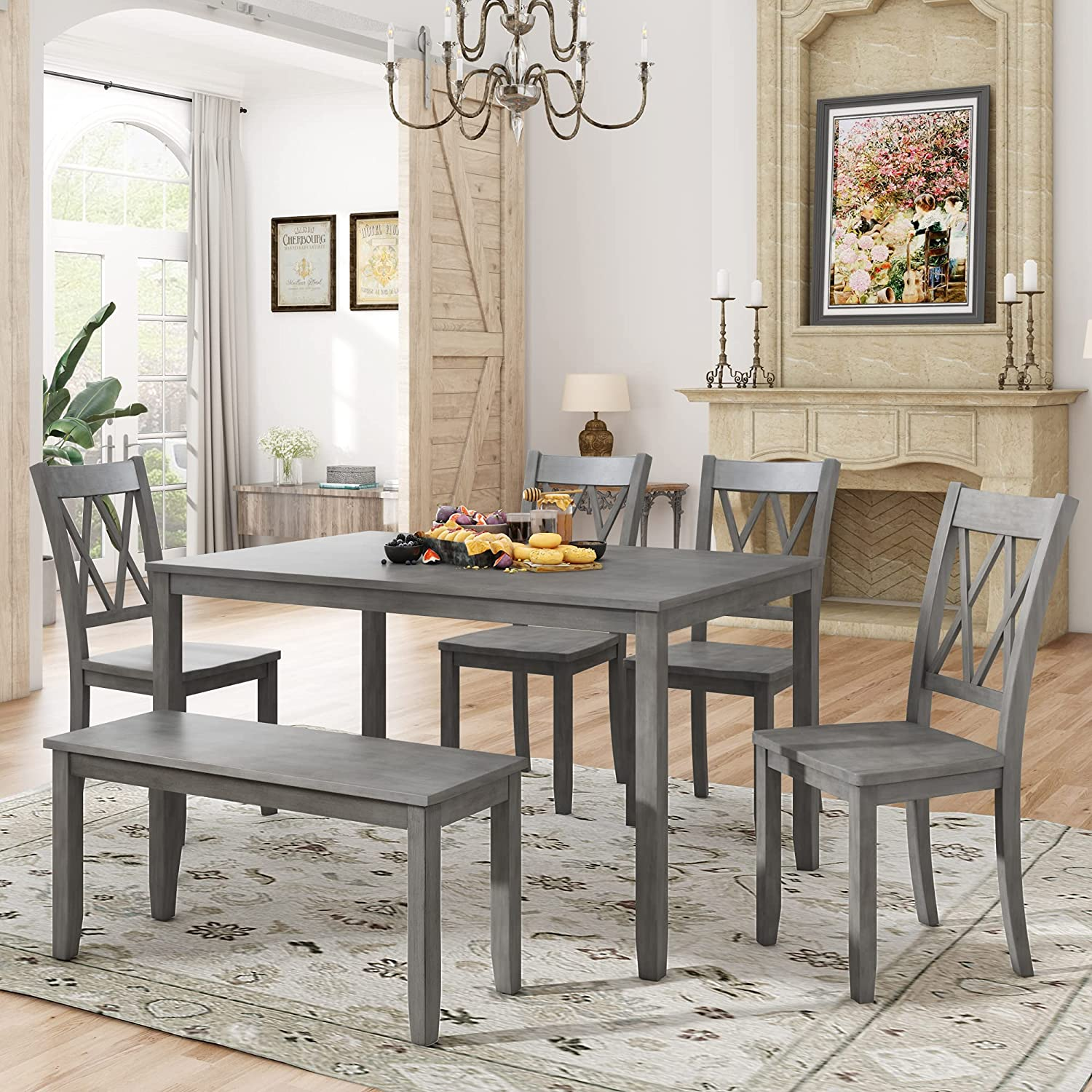 Merax Dining Today's only Popular products Table Sets 6-Piece Wood Kitchen