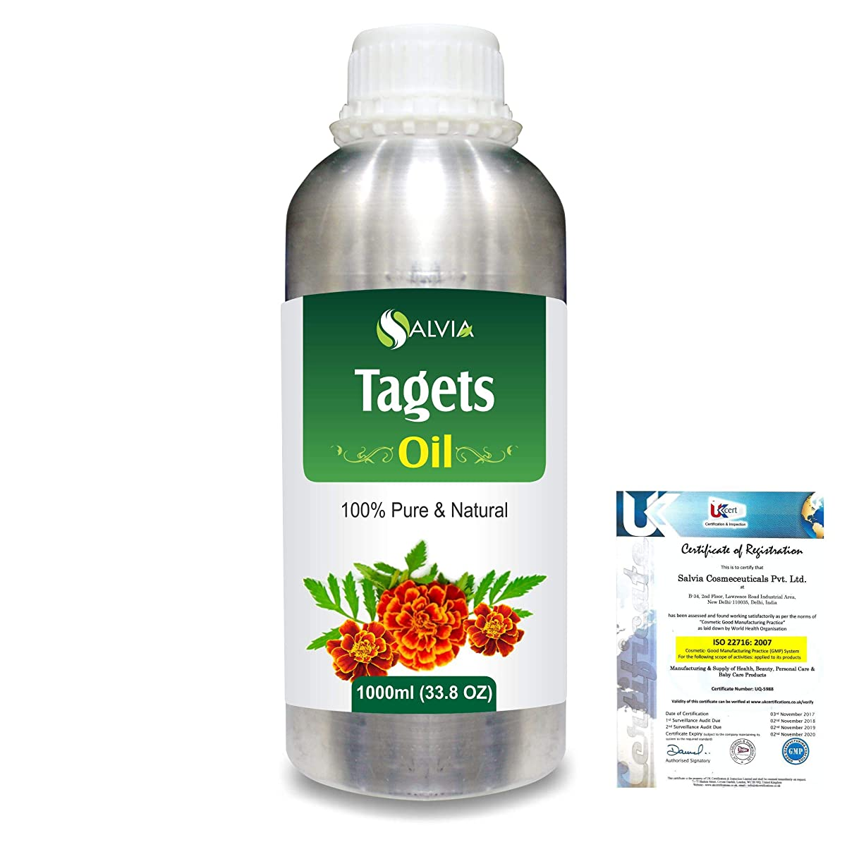 そこからより平らなバナーTagetes (Tagetes Minuta) 100% Pure Natural Essential Oil 1000ml/33.8fl.oz.