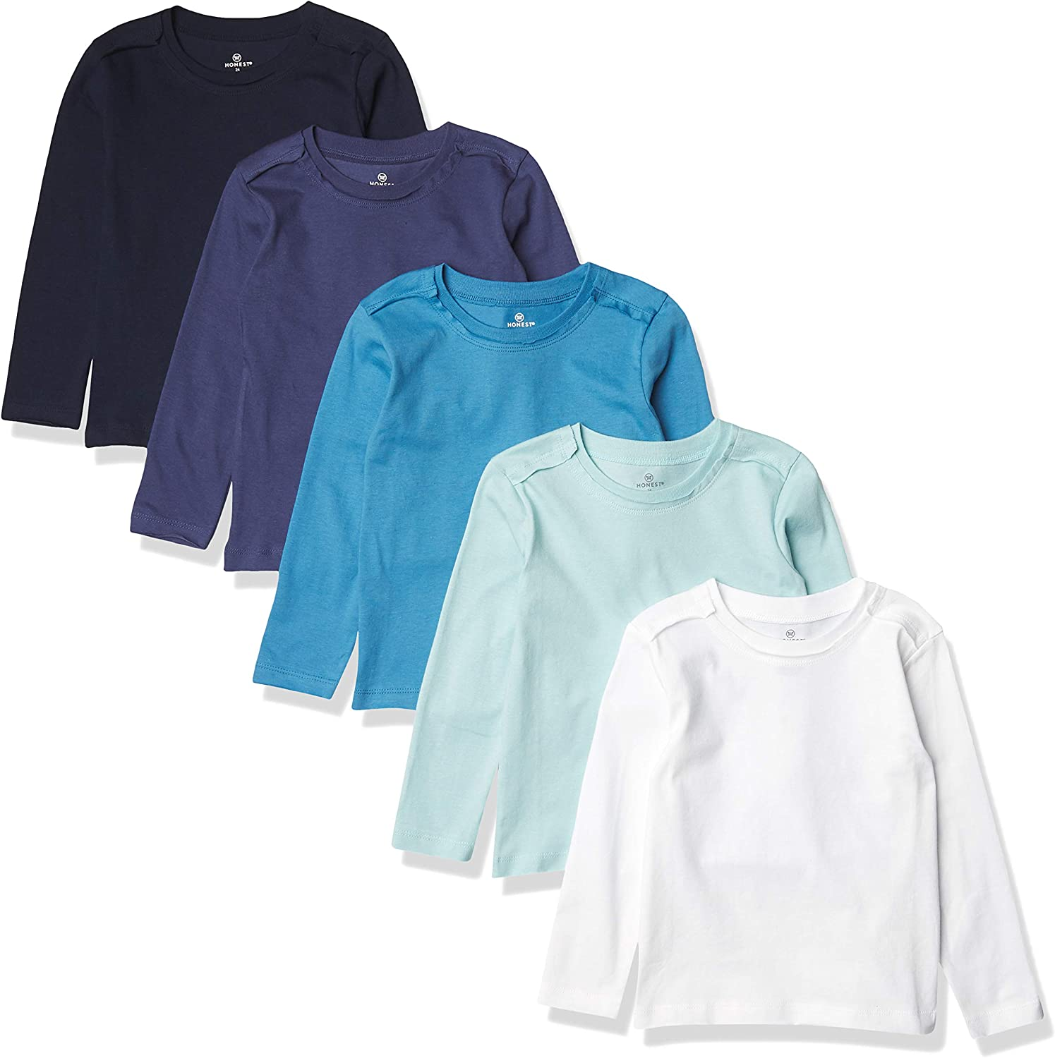 HonestBaby Baby 5-Pack Organic Cotton Long Sleeve T-Shirts